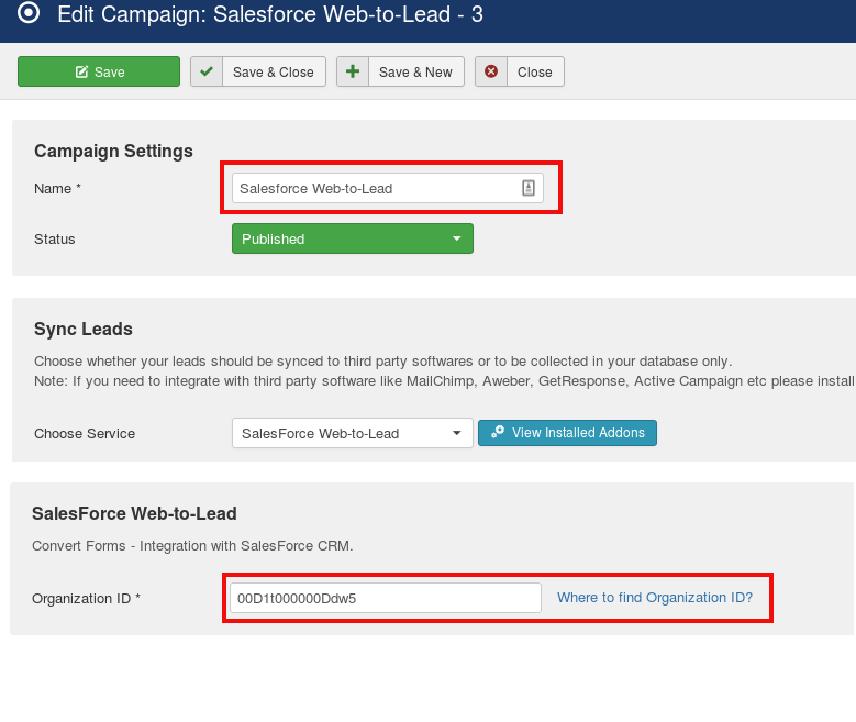 salesforce campaign convert forms