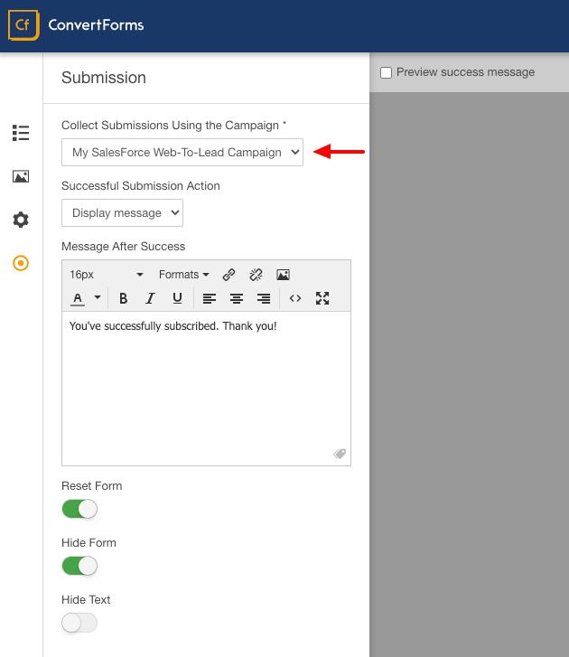 salesforce convert forms assign