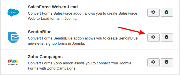 sendinblue convert forms addon