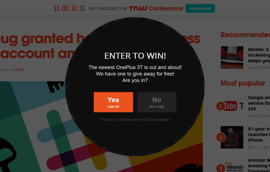 Yes No Popup Contest for Joomla