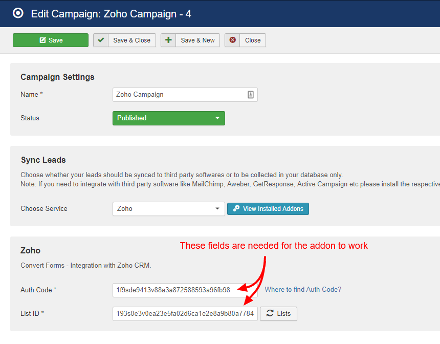 zoho campaign convert forms