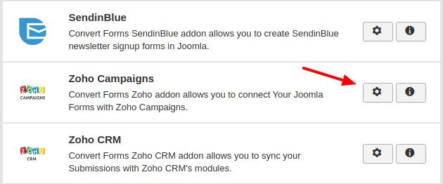zoho campaigns convert forms addon